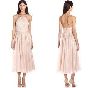 Vera Wang Blush Pink Chiffon Pleated Halter Dress